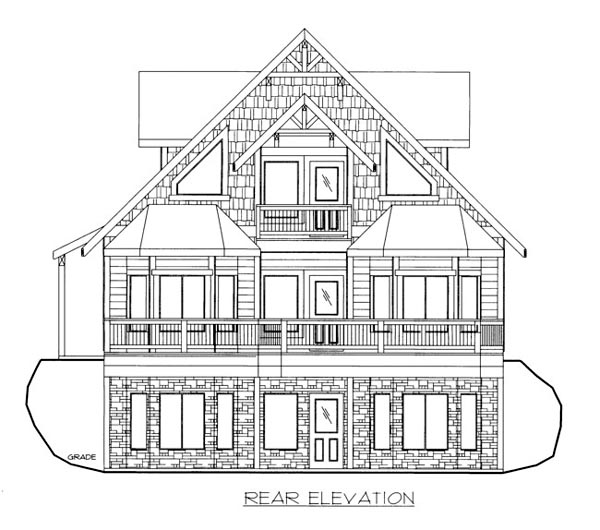 House Plan 86644 with 3 Beds, 3 Baths, 2 Car Garage Rear Elevation