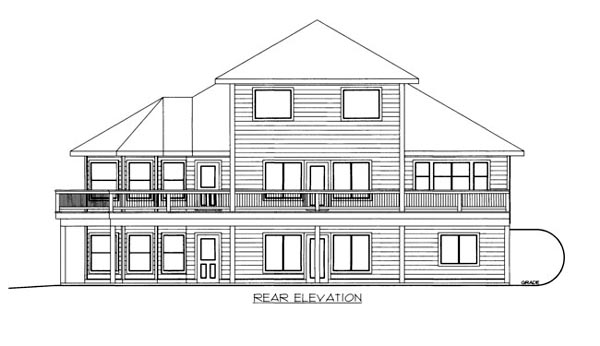 Rear Elevation of Plan 86646