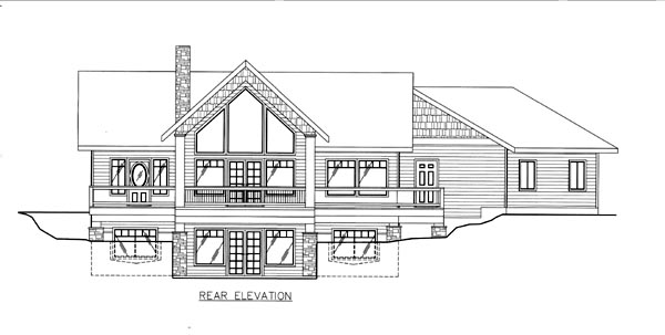 House Plan 86658 | Style Plan with 2844 Sq Ft, 3 Bedrooms, 3 Bathrooms, 2 Car Garage Rear Elevation