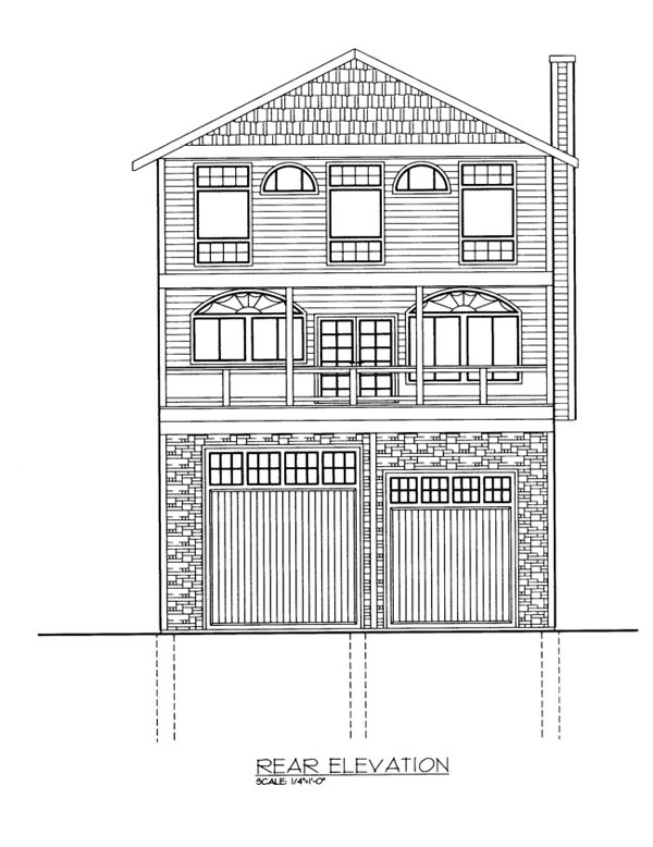 House Plan 86659 with 1 Beds, 4 Baths, 2 Car Garage Rear Elevation