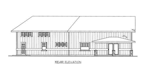 Rear Elevation of Plan 86672