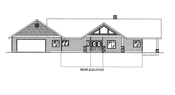 Rear Elevation of Plan 86673