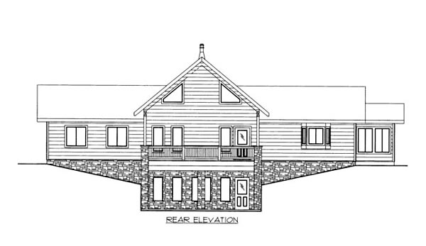 House Plan 86676 | Style Plan with 2959 Sq Ft, 2 Bedrooms, 2 Bathrooms Rear Elevation