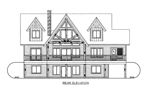 House Plan 86677 with 3 Beds, 4 Baths Rear Elevation