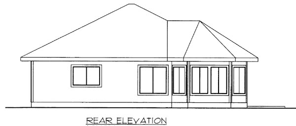 House Plan 86679 | Southwest Style Plan with 1308 Sq Ft, 2 Bedrooms, 2 Bathrooms Rear Elevation