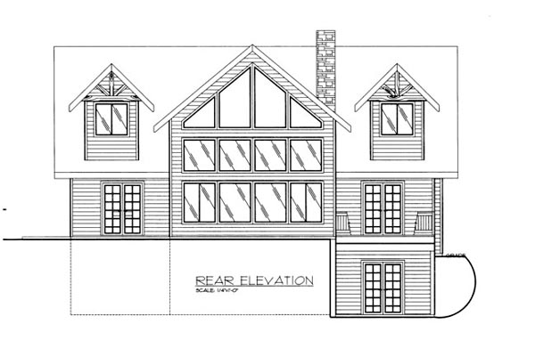 House Plan 86680 with 3 Beds, 3 Baths Rear Elevation