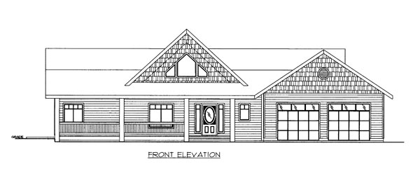 House Plan 86691 with 2 Beds, 2 Baths, 2 Car Garage Elevation