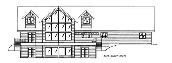 House Plan 86692 with 3 Beds, 3 Baths, 2 Car Garage Rear Elevation