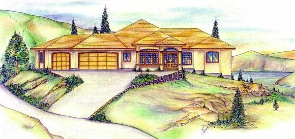 Southwest House Plan 86729 with 6 Beds, 5 Baths, 3 Car Garage Elevation