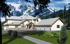Traditional House Plan 86735 with 5 Beds, 5 Baths, 3 Car Garage Elevation