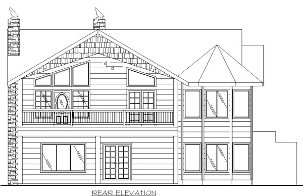 Victorian House Plan 86736 with 2 Beds, 2 Baths, 2 Car Garage Rear Elevation