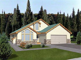 House Plan 86737 | Contemporary Style Plan with 1659 Sq Ft, 3 Bedrooms, 2 Bathrooms, 2 Car Garage Elevation