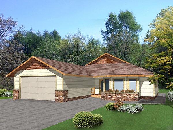 Bungalow House Plan 86738 with 3 Beds, 2 Baths, 2 Car Garage Elevation