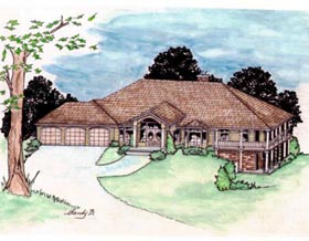 House Plan 86744   Traditional Style Plan with 3609 Sq Ft, 2 Bedrooms, 3 Bathrooms, 3 Car Garage Elevation