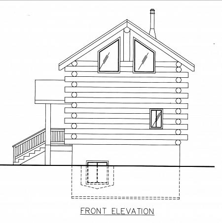 Log House Plan 86747 Elevation