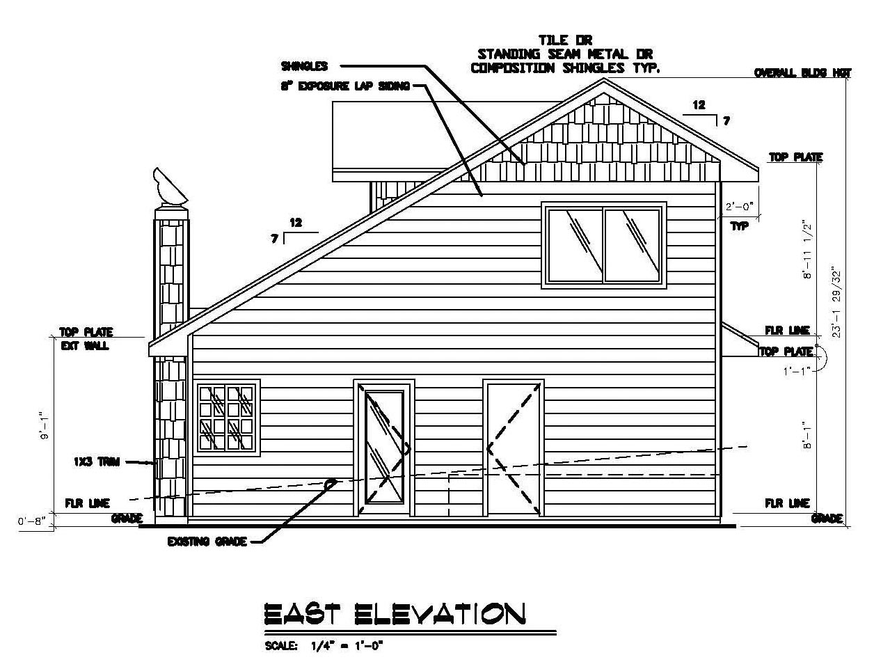 Craftsman , Rear Elevation of Plan 86749
