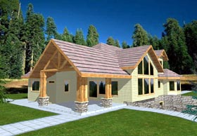 House Plan 86750 | Contemporary Style Plan with 2377 Sq Ft, 3 Bedrooms, 4 Bathrooms, 3 Car Garage Elevation