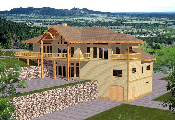 House Plan 86756 | Contemporary Style Plan with 3971 Sq Ft, 4 Bedrooms, 3 Bathrooms, 2 Car Garage Elevation