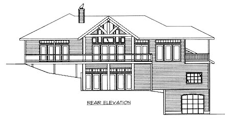 House Plan 86756 | Contemporary Style Plan with 3971 Sq Ft, 4 Bedrooms, 3 Bathrooms, 2 Car Garage Rear Elevation