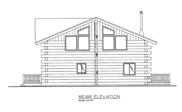 Log Rear Elevation of Plan 86757