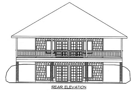 Traditional House Plan 86763 with 3 Beds, 3 Baths Rear Elevation