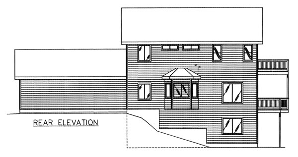 Traditional , Rear Elevation of Plan 86764