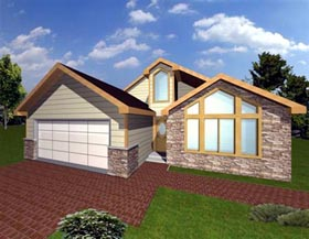 Contemporary House Plan 86765 with 3 Beds, 2 Baths, 2 Car Garage Elevation