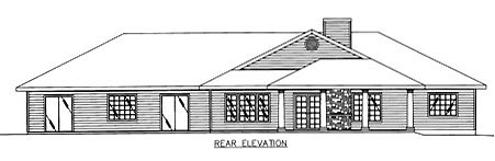 Traditional House Plan 86768 with 3 Beds, 3 Baths, 2 Car Garage Rear Elevation