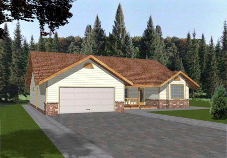 Traditional House Plan 86776 with 3 Beds, 2 Baths, 2 Car Garage Elevation