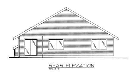 Traditional House Plan 86776 with 3 Beds, 2 Baths, 2 Car Garage Rear Elevation