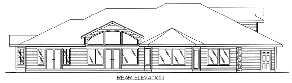 Traditional House Plan 86786 with 2 Beds, 2 Baths, 3 Car Garage Rear Elevation