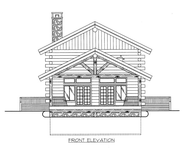 Log House Plan 86788 Elevation