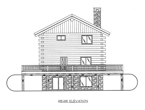 Log House Plan 86788 Rear Elevation