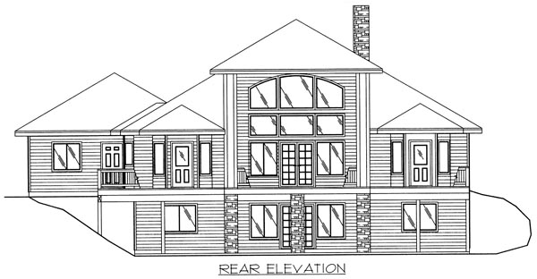 Traditional House Plan 86795 with 3 Beds, 3 Baths, 2 Car Garage Rear Elevation