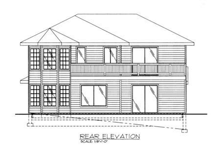 Traditional Rear Elevation of Plan 86796