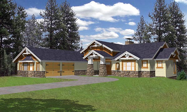 Bungalow House Plan 86799 with 3 Beds, 4 Baths, 2 Car Garage Front Elevation