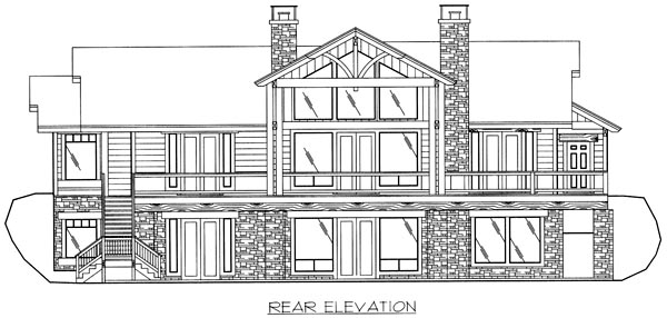 Bungalow House Plan 86799 with 3 Beds, 4 Baths, 2 Car Garage Rear Elevation