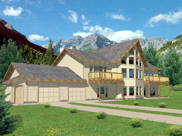 House Plan 86809 | Contemporary Style Plan with 3837 Sq Ft, 3 Bedrooms, 3 Bathrooms, 2 Car Garage Elevation