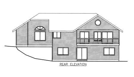 Traditional Rear Elevation of Plan 86829