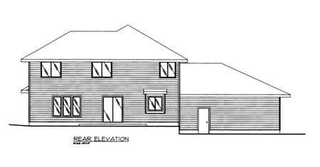 European Rear Elevation of Plan 86838