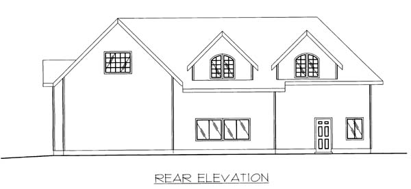 Rear Elevation of Plan 86869
