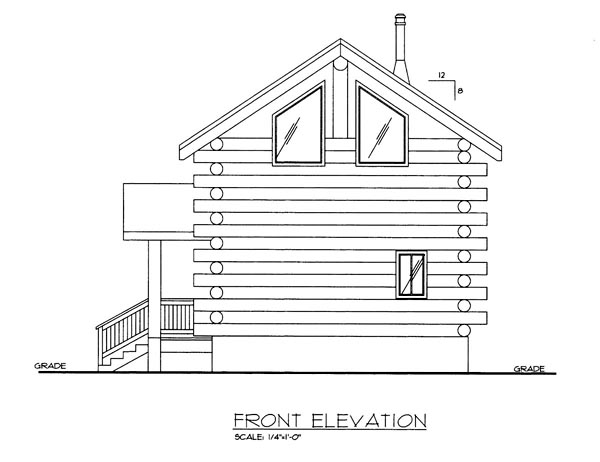 Log House Plan 86870 Elevation