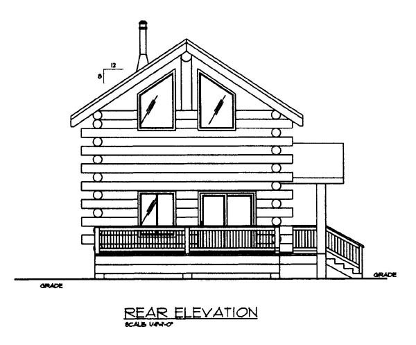 Log Rear Elevation of Plan 86870