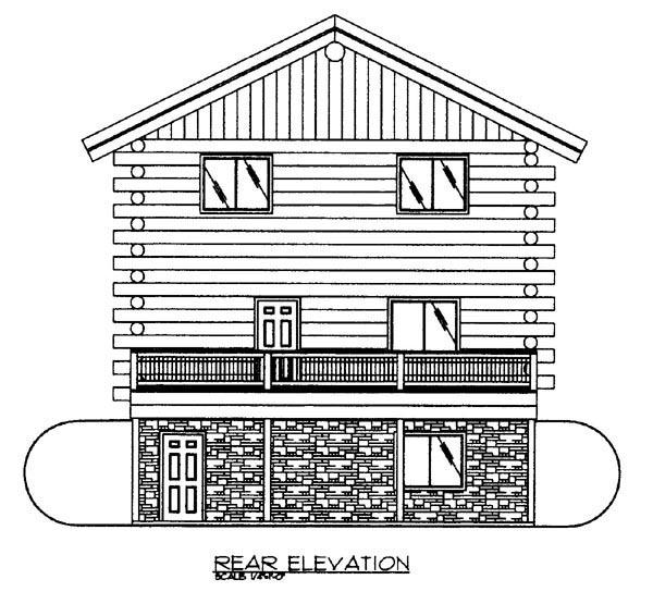 Log House Plan 86873 Rear Elevation