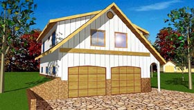 4 Car Garage Apartment Plan 86893 with 2 Beds, 1 Baths Elevation