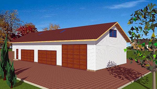 5 Car Garage Plan 86894, RV Storage Elevation
