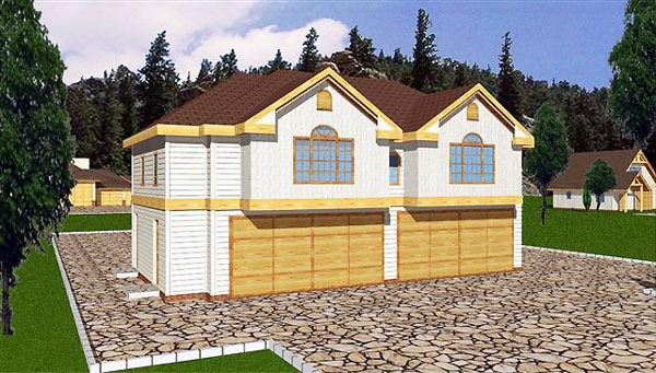 4 Car Garage Apartment Plan 86895 with 3 Beds, 2 Baths Elevation