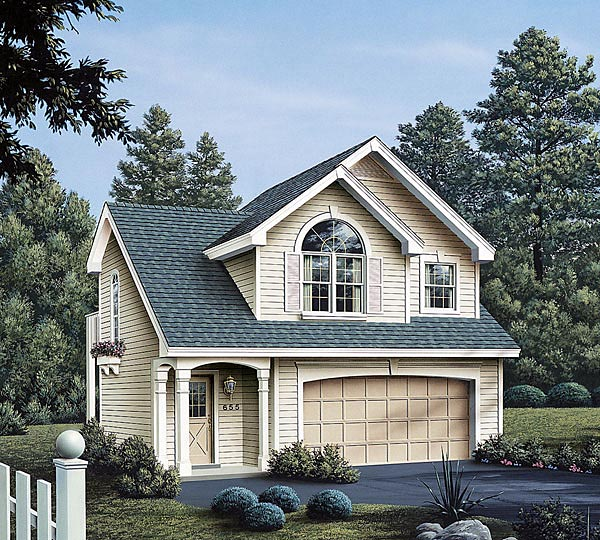 Country, European, Traditional 2 Car Garage Apartment Plan 86903 with 1 Beds, 1 Baths Elevation