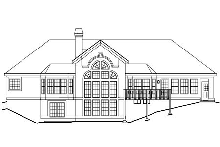 House Plan 86906 with 3 Beds, 2 Baths, 3 Car Garage Rear Elevation