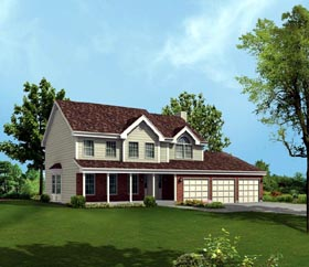 House Plan 86942 with 4 Beds, 3 Baths, 2 Car Garage Elevation
